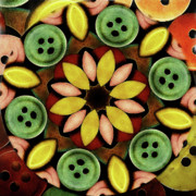 Canary Yellow Art - Buttons Abstract by Bonnie Bruno