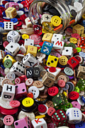 Playthings Photo Prints - Buttons and Dice Print by Garry Gay