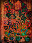 Red And Tea Prints - Buttons Print by Ann Powell