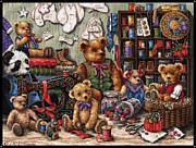 Linen Room Prints - Buttons N Bears Print by J McCombie