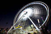 Ferris Wheel Night Photographs Posters - Buy the Ticket take the Ride I Poster by Christina Czybik
