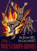 Explosion Digital Art Posters - Buy War Stamps And Bonds Poster by War Is Hell Store