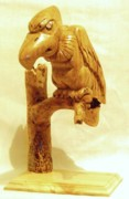 Woodcarving Sculpture Originals - Buzzard by Russell Ellingsworth