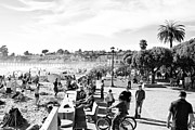 Park Benches Digital Art - bw 467 Beachgoers by Chris Berry
