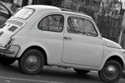 Fiat 500 Framed Prints - BW Fiat 500 Framed Print by Andrea Barbieri