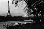 1970s Originals - BW France Paris Eiffel tour Seine at dusk 1970s by Issame Saidi
