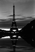 1970s Originals - BW France Paris Eiffel tower reflection 1970s by Issame Saidi