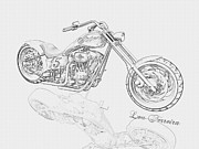 Pencil On Canvas Metal Prints - BW Gator motorcycle Metal Print by Louis Ferreira