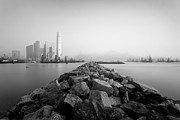 Sea View Art - bw Hong Kong harbour view by Kam Chuen Dung