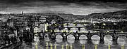 Charles Bridge Digital Art Metal Prints - BW Prague Bridges Metal Print by Yuriy  Shevchuk