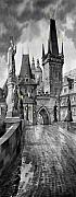 Charles Digital Art Prints - BW Prague Charles Bridge 02 Print by Yuriy  Shevchuk