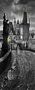 Rain  Framed Prints - BW Prague Charles Bridge 03 Framed Print by Yuriy  Shevchuk