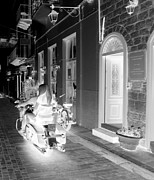 Neo-classical Framed Prints - BW Sexy Girl Riding Glowing Motorcycle Bike Rider Speed Stone Paved Street in Nafplion Greece Xray  Framed Print by John A Shiron