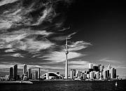 City Tapestries Textiles Originals - BW skyline of Toronto by Andriy Zolotoiy