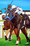 Horse Racing Paintings - By A Nose by Michael Lee