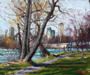 Niagara River Prints - By Niagara River Print by Ylli Haruni
