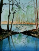 Saco Prints - By Rivers Edge Print by Brenda Owen
