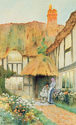 Thatch Posters - By the Cottage Door Poster by Arthur Claudes Strachan