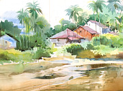 Christmas Holiday Scenery Art - By the creek 1 by Milind Mulick