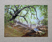 Oak Creek Prints - By the Creek Print by Bonnie Rinier