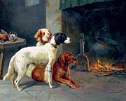Dogs Art - By the Fire by Alfred Duke