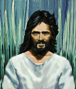 Jesus Drawings Prints - By The Fountain Print by Larry Cole