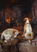 Sleeping Dog Art - By the Hearth by Philip Eustace Stretton