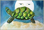 Turtle Mixed Media Metal Prints - By the Light Of the Silvery Moon Metal Print by Mindy Newman