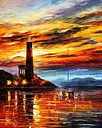 Lighthouse Oil Paintings - By The Lighthouse by Leonid Afremov