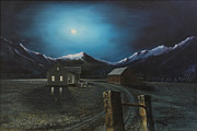 Old Barn Paintings - By The Mountain Moon Light He Comes A Callen by David Ackerson