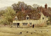 Chicken Framed Prints - By the Old Cottage Framed Print by Helen Allingham