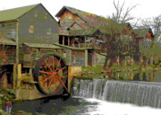 Old Mills Photo Prints - By the Old Mill Stream Print by Larry Bishop