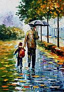 Men Art Painting Originals - By The rain by Leonid Afremov