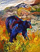 Wild Animals Paintings - By The River - Black Bear by Marion Rose