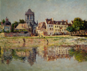 Church Tower Prints - By the River at Vernon Print by Claude Monet