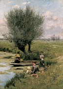 Pastoral Framed Prints - By the Riverside Framed Print by Emile Claus