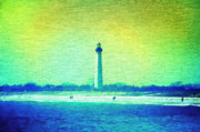 Photographs Digital Art Framed Prints - By The Sea - Cape May Lighthouse Framed Print by Bill Cannon