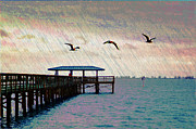 Pier Digital Art - By The Sea by Bill Cannon
