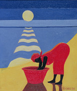 African Woman Prints - By the Sea Shore Print by Tilly Willis