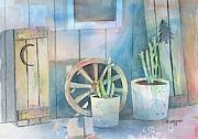Wheels Painting Framed Prints - By The Side Of The Shed Framed Print by Arline Wagner