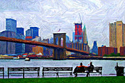 Brooklyn Bridge Digital Art Metal Prints - By the Water Too Sketch Metal Print by Randy Aveille