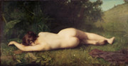 Reclining Female Nude Posters - Byblis Turning into a Spring Poster by Jean Jacques Henner