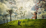 Storybook Digital Art Prints - Bye for Now Print by Jutta Maria Pusl