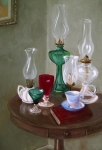 Oil Lamp Painting Framed Prints - Bygone Lanterns Framed Print by Natalie L