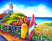 Surf Art Framed Prints - Byron Bay Lighthouse Framed Print by Deb Broughton