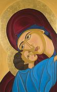 Byzantine Painting Framed Prints - Byzantine Art Mother Love Framed Print by Marinella Owens