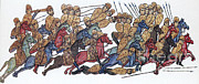 Byzantine Photos - Byzantine Cavalrymen Rout Bulgarians by Photo Researchers