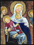 Black Madonna Paintings - Byzantine Madonna by Kathleen Hurley