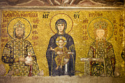 Christ Child Posters - Byzantine Mosaic in Hagia Sophia Poster by Artur Bogacki