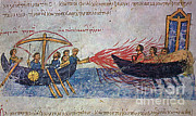 Byzantine Photo Framed Prints - Byzantine Sailors Use Greek Fire On Framed Print by Photo Researchers